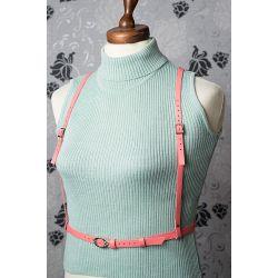 Портупея женская кожаная цвета розовый фламинго. Продажа онлайн, изготовление под заказ.