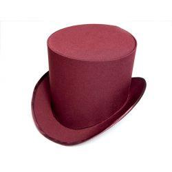 Головной убор. Бордовая шляпа цилиндр. Купить недорого онлайн.