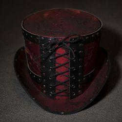 Шляпа цилиндр в стиле стимпанк декорированный натуральной кожей. Шляпа цилиндр, цена, фото, заказ, покупка.
