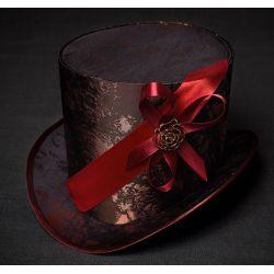 Шляпа цилиндр ''медный всадник'' головной убор с атласными лентами красного цвета. Головной убор в стиле стимпанк.