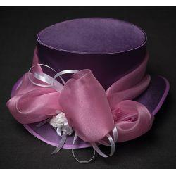 Головной убор стимпанк шляпа цилиндр ''королева виктория'' лилового (сиреневого) цвета с атласными лентами, органзой и розами.