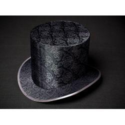 Головной убор. Шляпа цилиндр стального цвета с серебристым растительным орнаментом. Купить недорого.