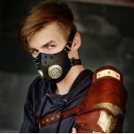 Стимпанк Кибергот маска из натуральной кожи с шипами