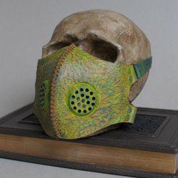 Post apocalyptic toxic waste green leather mask