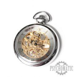 Механические карманные часы скелетоны в хромированном корпусе с римскими цифрами на циферблате.