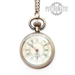 Изящные карманные стимпанк часы с римскими цифрами на циферблате, в корпусе под старую бронзу.