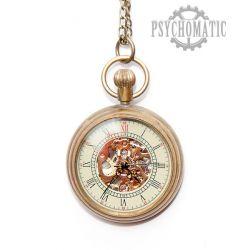 Скелетоны механические часы карманные с римскими цифрами на циферблате. Ручной взвод механизма.