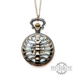 Стимпанк часы карманные с откидной крышкой стилизованные под грудную клетку.