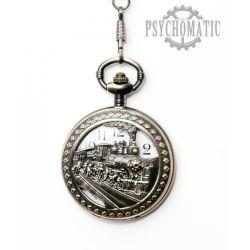 Стимпанк часы карманные с изображением поезда на откидной крышке.