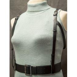 Черная кожаная портупея женская. Продажа онлайн, изготовление под заказ.