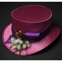 Шляпа цилиндр стимпанк ''королева виктория'' розового цвета с атласными лентами и розами.