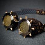 Очки в стиле стимпанк с латунной сеткой и латунными колпачковыми гайками серия Старая Бронза