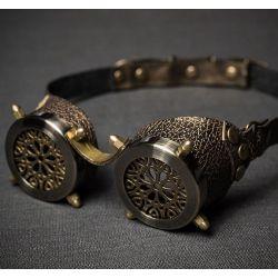 Очки в стиле стимпанк с ажурными решетками и латунными колпачковыми гайками серия Старая Бронза