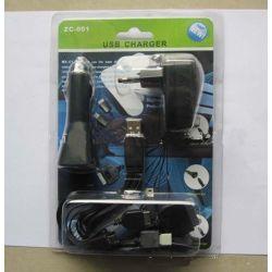 Комплект из стационарного и автомобильного зарядных устройств и универсального кабеля 10 in 1