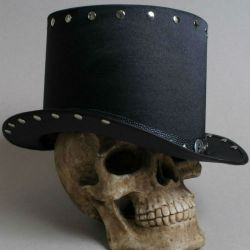Full-size handmade from scratch by SteampunkHatMaker black top hat in hard and heavy style
