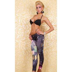 Джеггинсы под джинсы с принтом в стиле Пикассо, синие