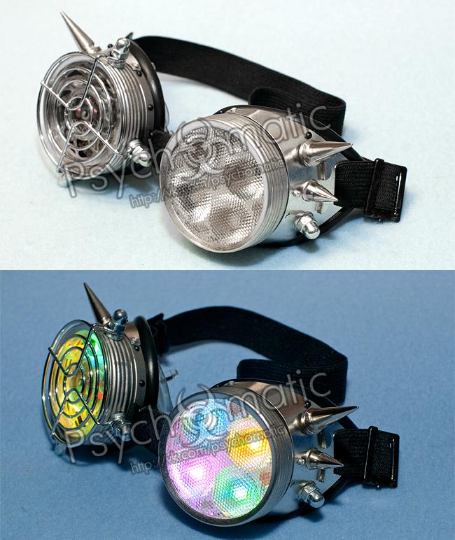 Кибергот очки. Кибер очки с прозрачным кулером, декоративной решеткой, рассеивателем и RGB светодиодами.