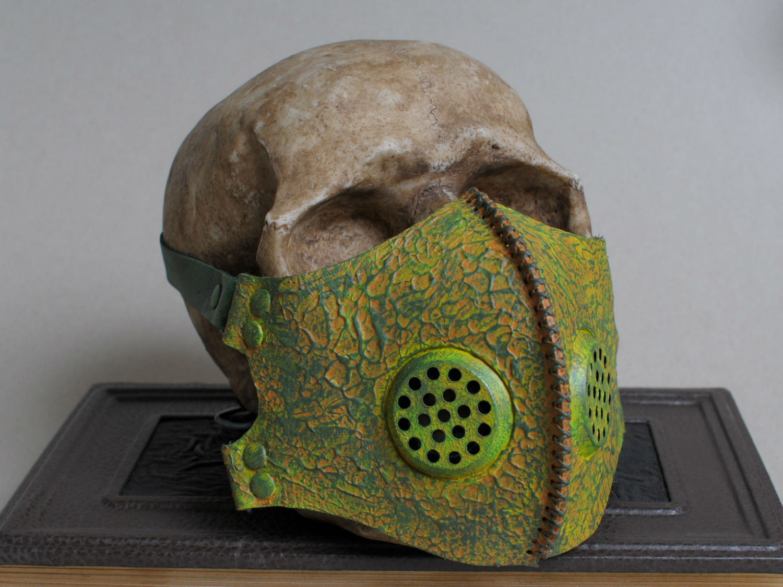 Post apocalyptic toxic waste green leather mask left