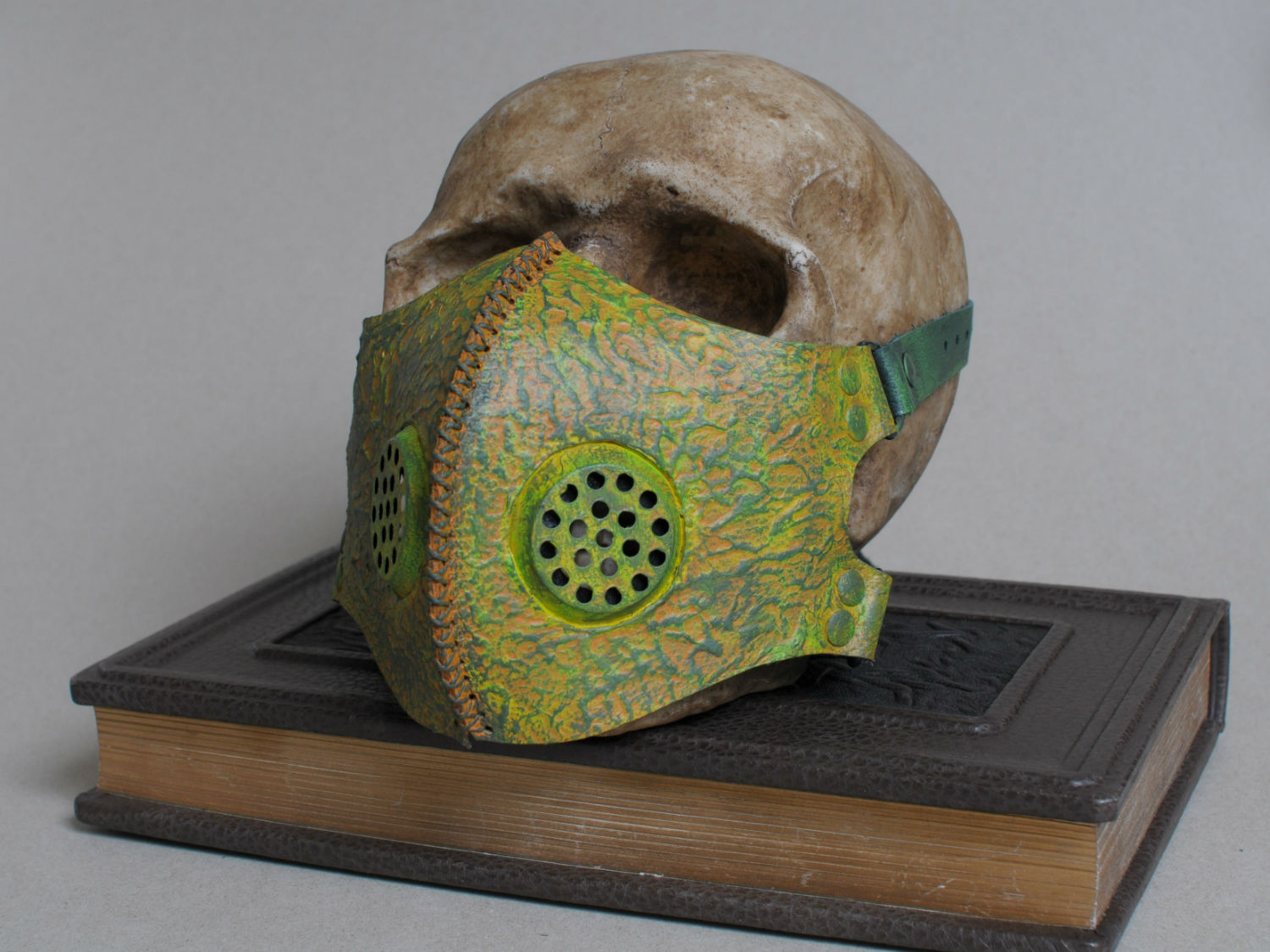Post apocalyptic toxic waste green leather mask right