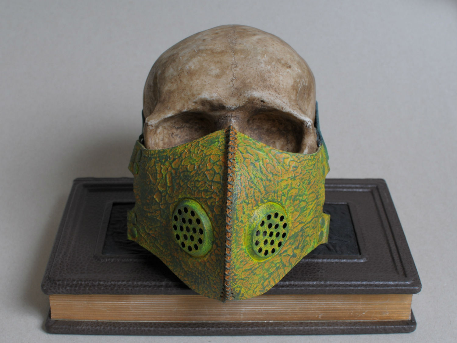 Post apocalyptic toxic waste green leather mask front