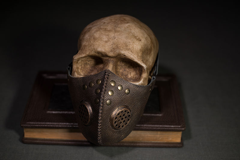 Post apocalyptic gas mask, respirator bronze color