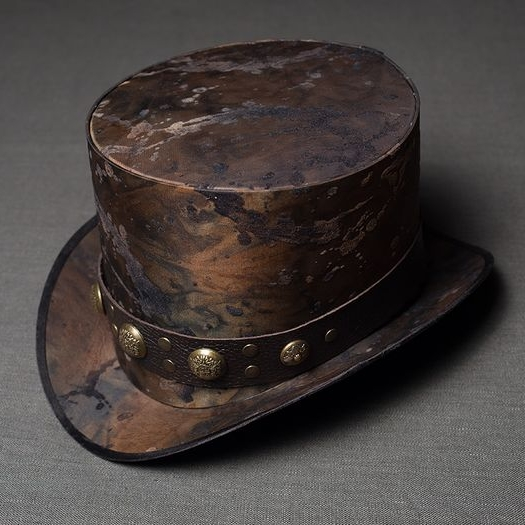 Post apocalyptic clothing hat, top hat, steampunk top hat, industrial top hat