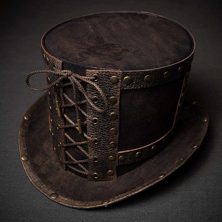 Стимпанк шляпа цилиндр с заклепками