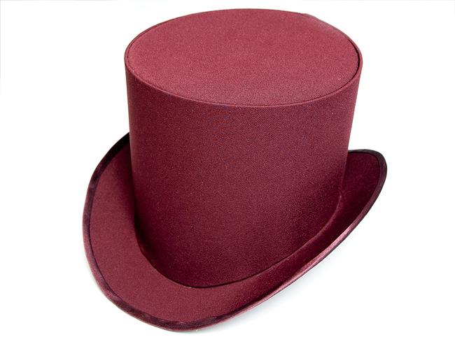 шляпа-цилиндр цвета бордо