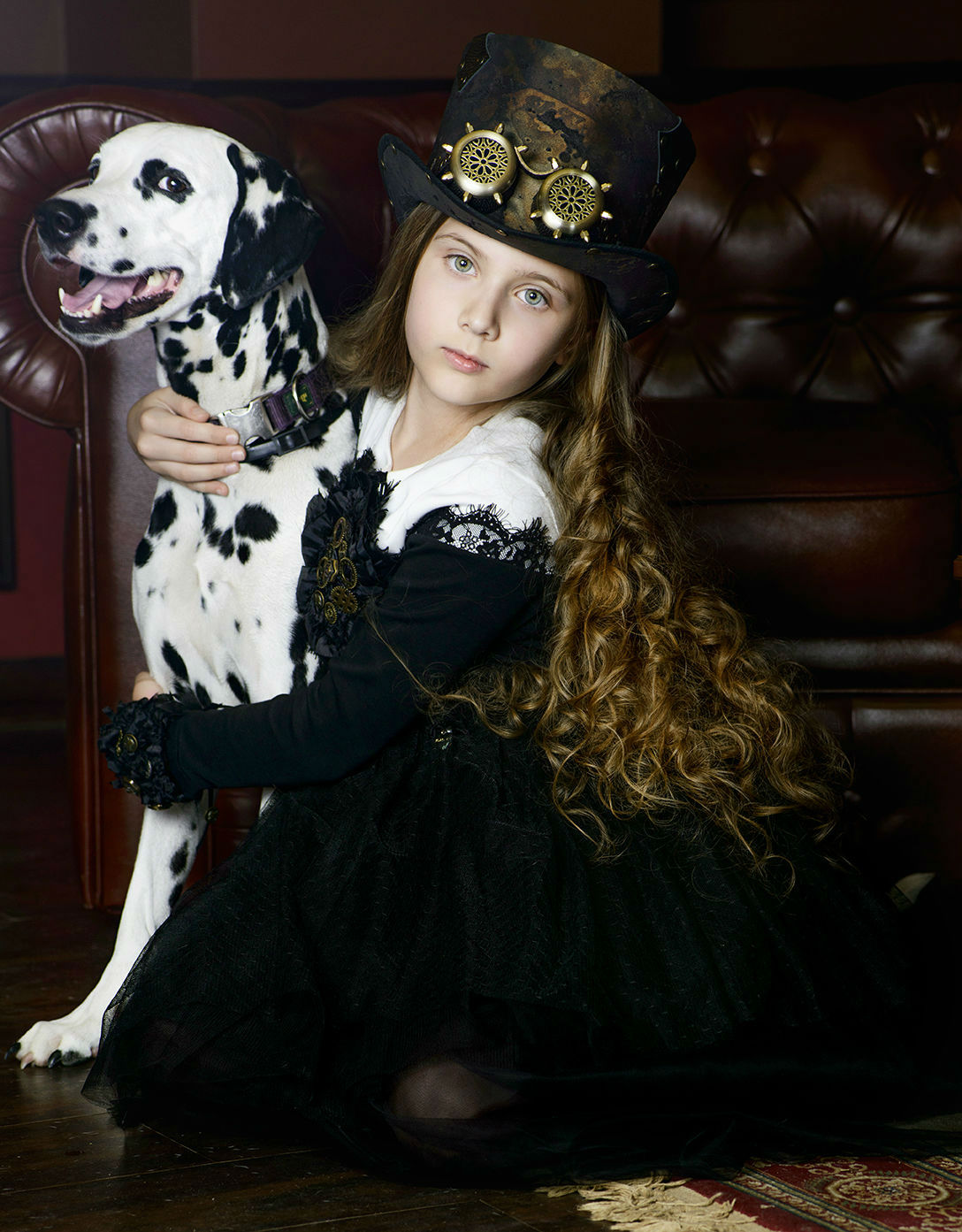 steampunk photography of young girl with dog