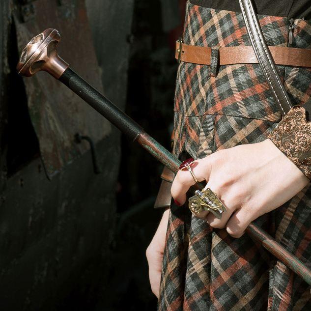 стимпанк прогулочная трость с покрытием под старую медь и набалдашником имитирующим старую медь