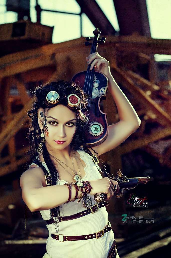 girl with steampunk violin