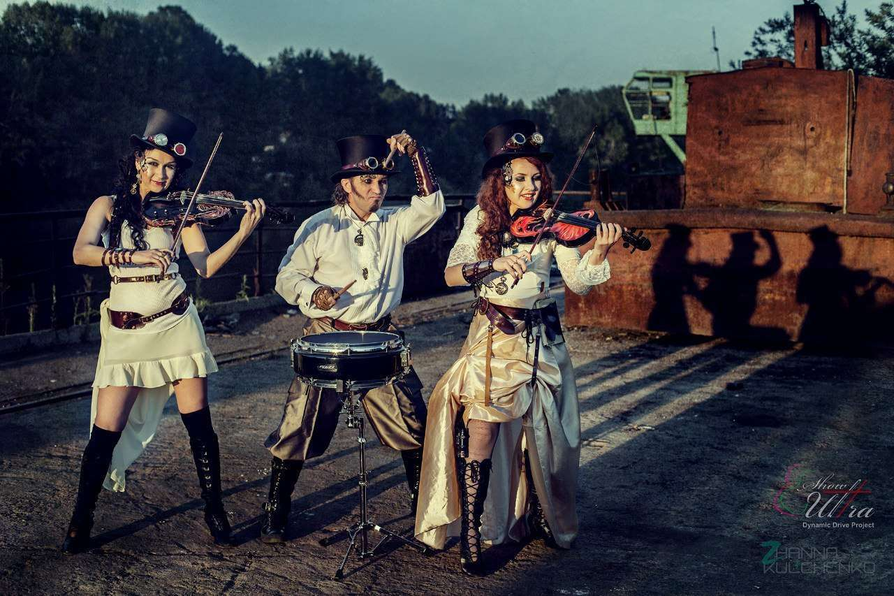 Photo of violin band in steampunk style